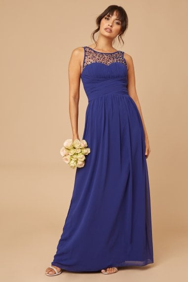 Grace Cobalt Sweetheart Maxi Dress With Embellishment