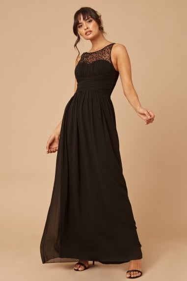 Grace Black Embellished Neck Maxi Dress