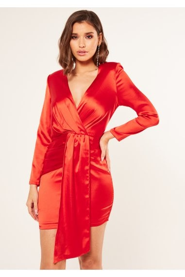 Mya red drape detail asymmetrical ruched panels dress