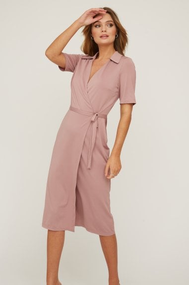 Bassi Rose Pink Midi Wrap Dress