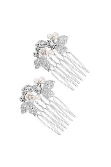 Silver, Plated, Clear, Crystal, 2, Pack, Floral, Hair, Comb