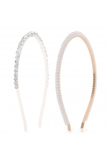 Two, Tone, Plated, Crystal, And, Pearl, 2, Pack, Headband