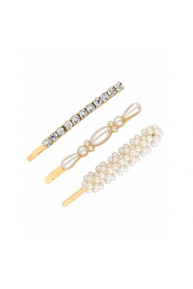 Gold, Plated, Crystal, And, Pearl, Mixed, 3, Pack, Clips