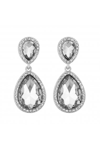 Silver Plated Double Pear Crystal Drop Earrings