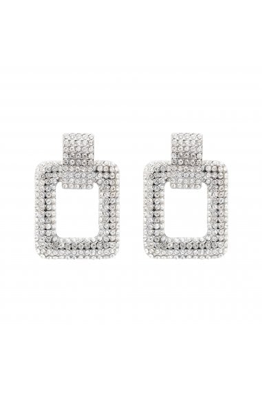 Silver Plated Pave Rectangle Door Knocker Earring