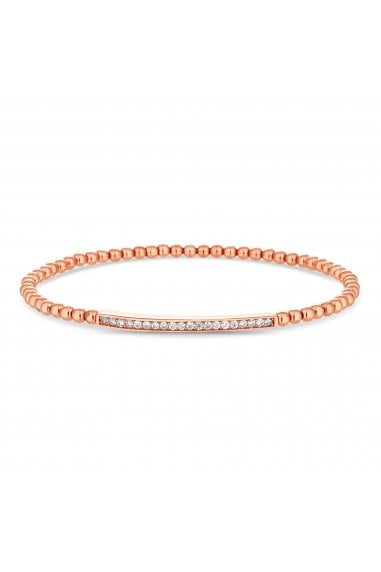 14ct, Rose, Gold, Plated, Sterling, Silver, 925, Cubic, Zirconia, Bar, Beaded, Stetch, Bracelet