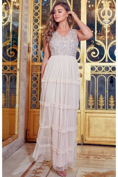 Sistaglam Luxe Diego Blush Embellished Maxi Dress