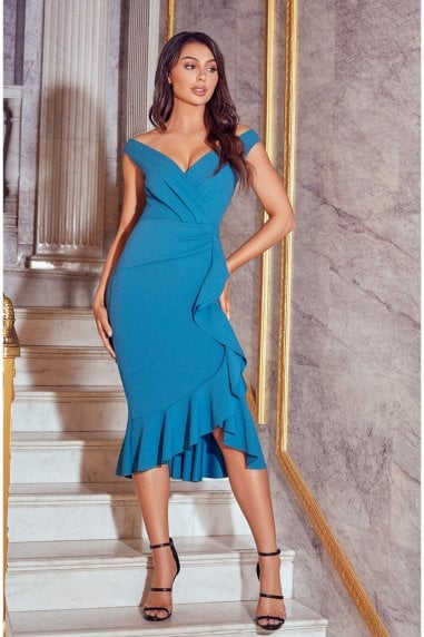 Sistaglam Shaki Teal Off The Shoulder Frill Wrap Body Midi Dress