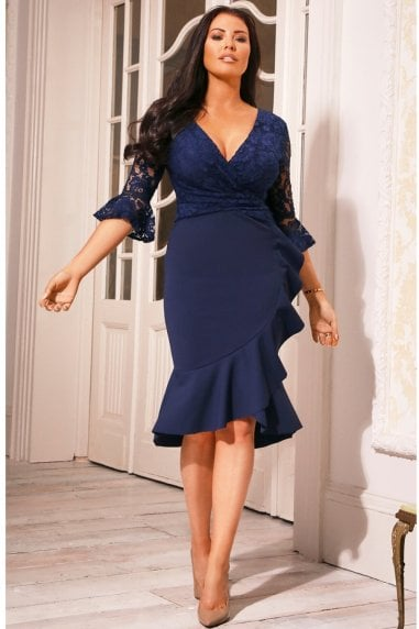 Tia Navy Lace Top Frill Sleeve Dress