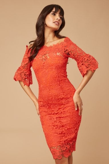Red Crochet Lace Bardot Dress