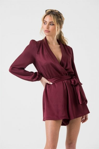 Satin Wrap Playsuit with Tie in Wine Red