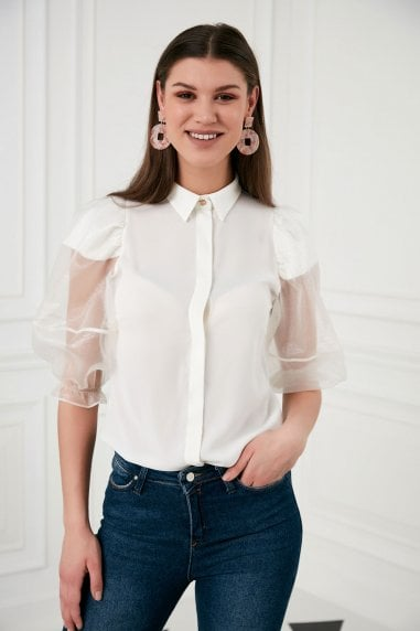 Explosion London White Ballon Sleeves Top