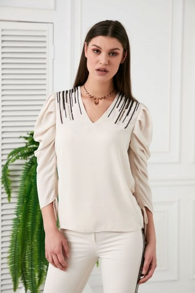 Explosion London V Neck Draped Sleeves Beige Sequin Shoulders Top
