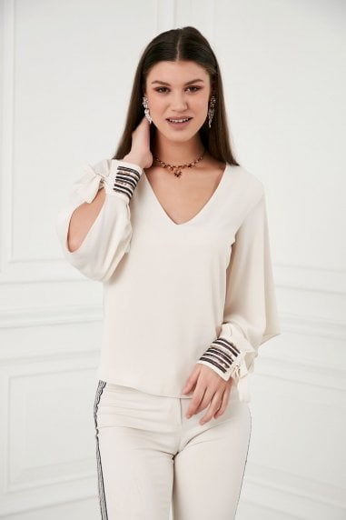 Explosion London V Neck Sequin Adjustable Cuffs Beige Top