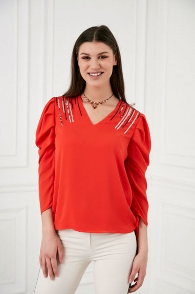 Explosion London V Neck Draped Sleeves Red Sequin Shoulders Top