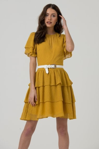 Mustard Layered & Tiered Mini Dress