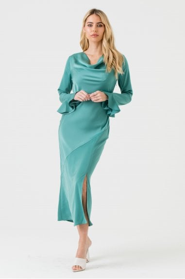 Sage Green Cowl Neck Midi Dress with Open Back