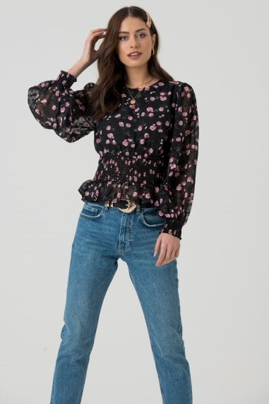 Sheer Sleeve Blouse in Black Pink Floral Print