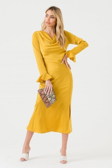 Mustard Cowl Neck Midi Dress with Open Back