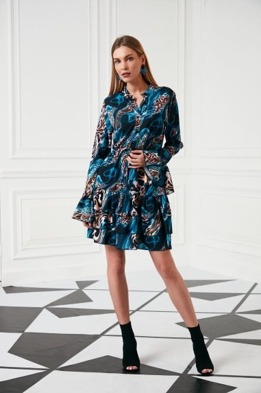 Jenerique Ocean print ruffle short dress