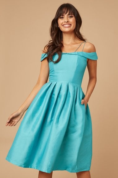 Teal Bardot Prom Dress With Overlay