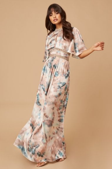 Mishka Agate-Print Pleated Maxi Dress