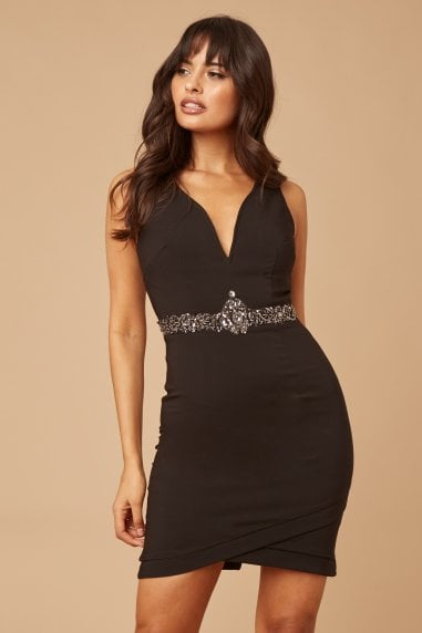 Black Plunge Jewel Waist Bodycon Dress