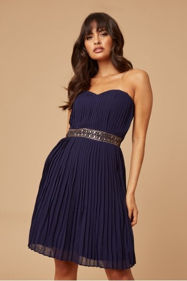 Navy Pleated Prom Dress