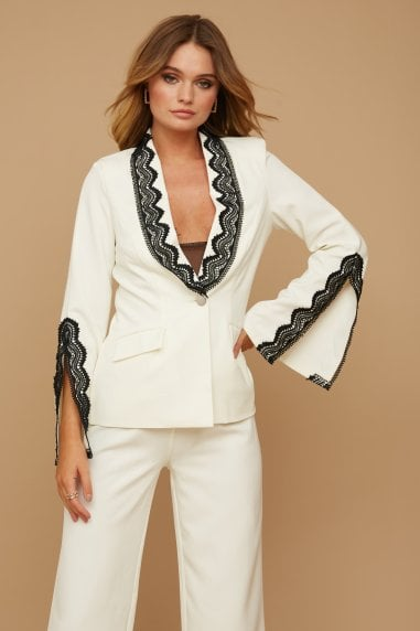 Palma Cream Lace-Trim Blazer Co-ord
