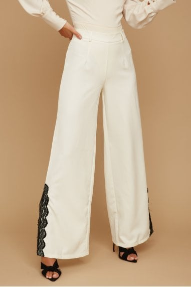 Palma Cream Lace-Trim Flare Trousers Co-ord