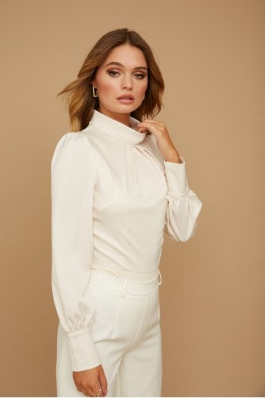 Palma Cream Satin Blouson Bodysuit