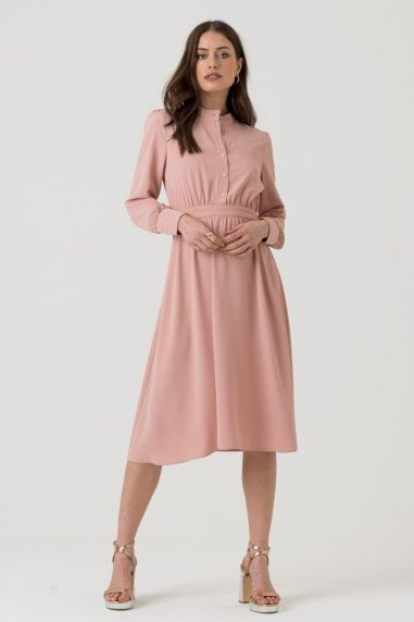 Long Sleeve Button Up Dress in Pink