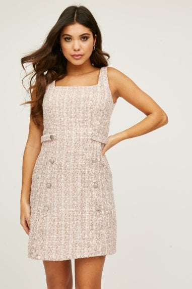 Magnus Blush Boucle Tweed Pinafore Dress