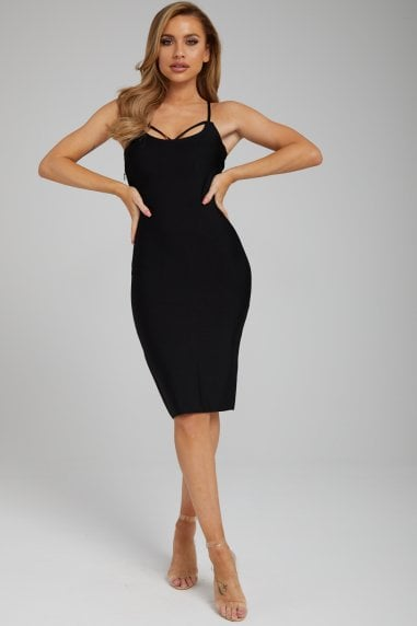 The 'Keira' Black Midi Bandage Dress