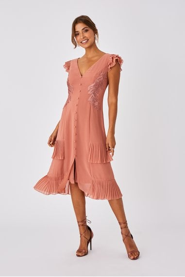 Ada Rose Gold Applique And Frill Midi Dress