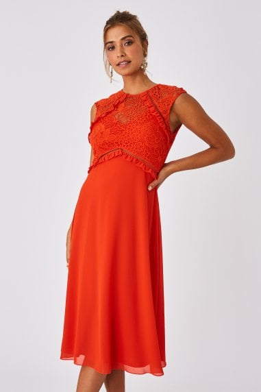 Alana Paprika Lace Midi Shift Dress