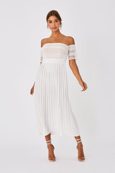 Ellen Optic White Crochet Lace Bardot Midaxi Dress