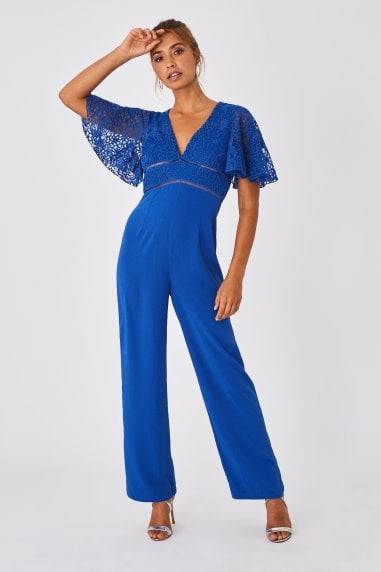 Lela Cerulean Blue Lace Angel Sleeve Jumpsuit