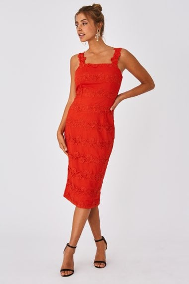 Alana Paprika Floral Lace Mesh Midi Bodycon Dress