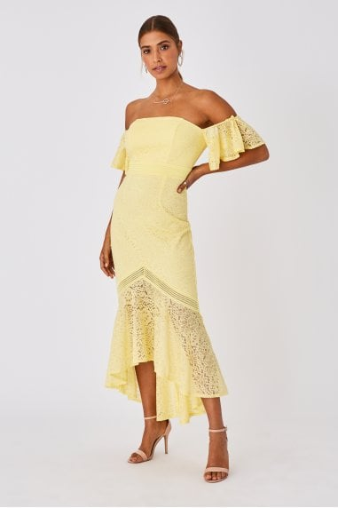Tandi Lemon Zest Lace Bardot Maxi Dress