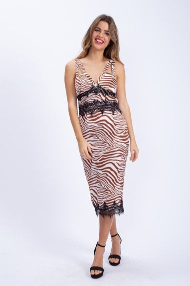 Midi Dress with Lace Detail in Brown Zebra Print