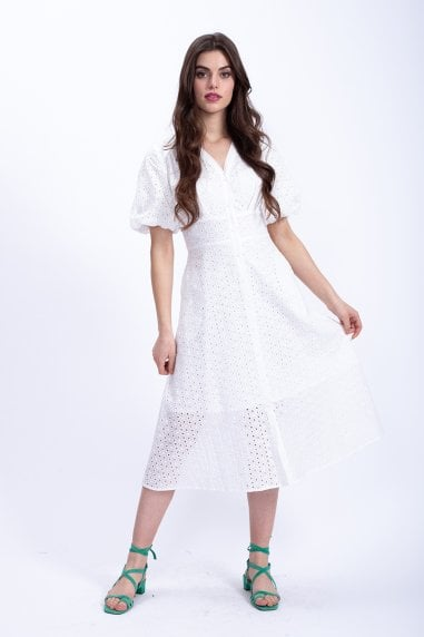 Midi White Shirt Dress with Balloon Short Sleeve