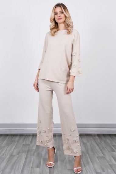 Loungewear Co Ord Set With Pearl Detail | Beige
