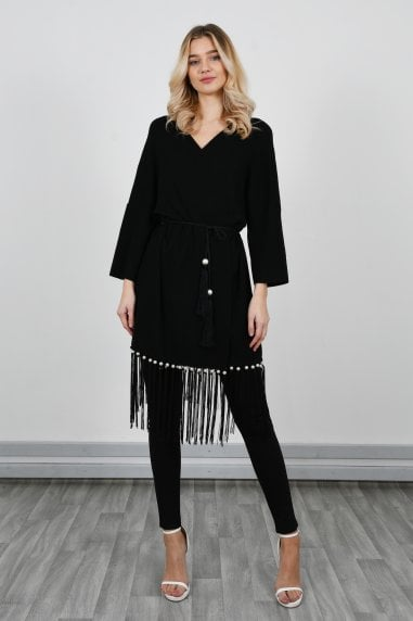 Knitted Kimono With Fringes & Pearls | Black