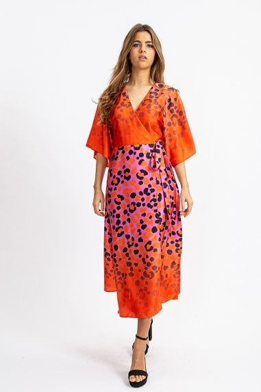 Kimono Midi Wrap Dress in Orange and Pink Ombre Leopard Print