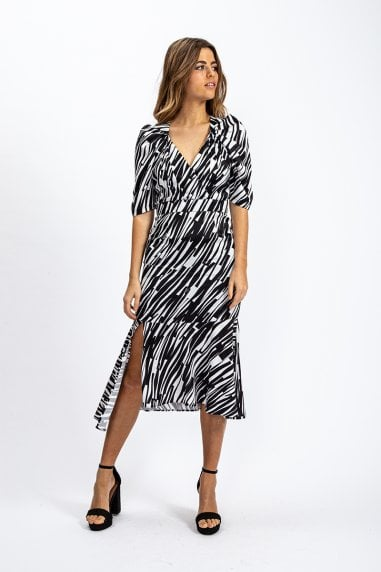 Black and White Abstract Printed Midi Dress with Split