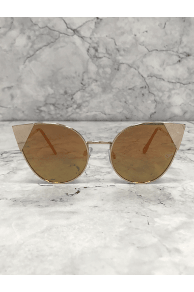 Gold Mirror Lens Cat-Eye Sunglasses