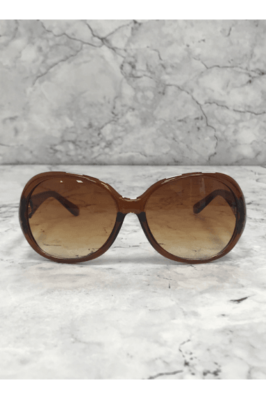 Brown Gold Chain Arm Round Sunglasses