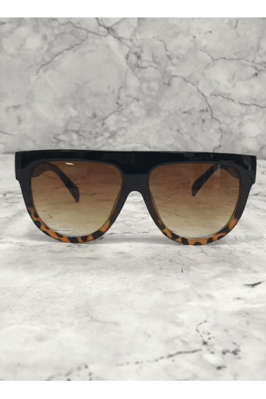 Brown Square Flat Brow Sunglasses