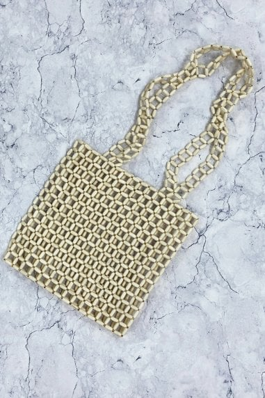 Cream Beaded Shoulder Bag